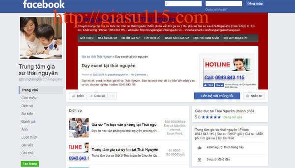 Fanpage facebook trung tam gia su thai nguyen 115
