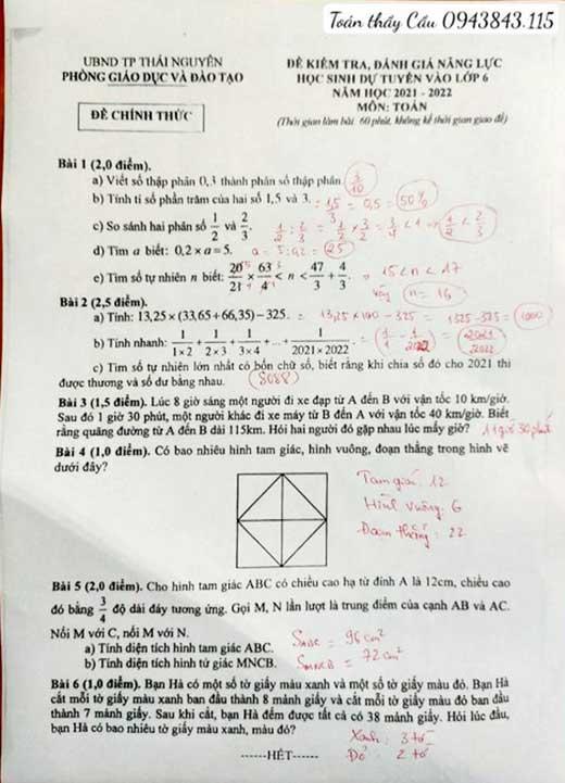 Đề thi môn toán vào THCS Chu Văn An Thái Nguyên 2021-2022